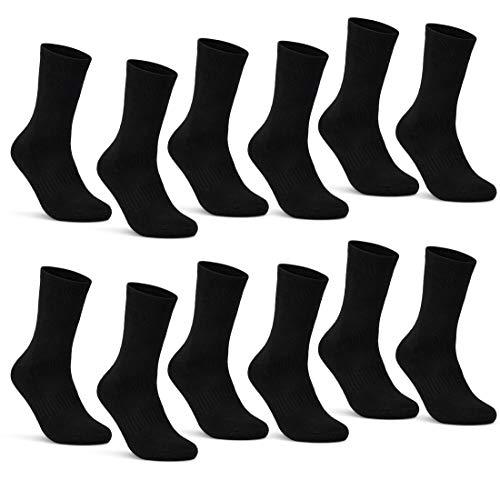 sockenkauf24 6 | 12 | 24 Paar THERMO Socken Damen & Herren Vollfrottee Schwarz Baumwolle mit Komfortbund (39-42, 12 Paar | schwarz)