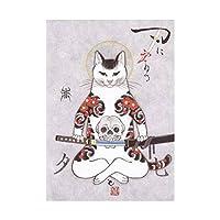 漫画のタトゥー猫のポスター和風サムライ猫の壁アートパネルリビングルームの寝室カラフルなタトゥー動物レトロなキャンバス絵画インテリアの装飾40x50cmフレームなし