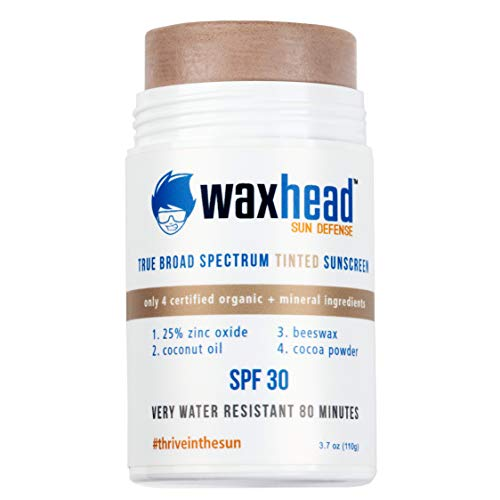 Waxhead Tinted Zinc Sunscreen Stick - 4 Ingredients. Sport Sunscreen Stick, Non-nano Zinc Oxide, Sweat + Water Resistant 80 mins. Reef Safe, Biodegradable, Eco Friendly Sunscreen Stick Kids, Face + Surf Safe (SPF 30, 3.7oz, Tinted)