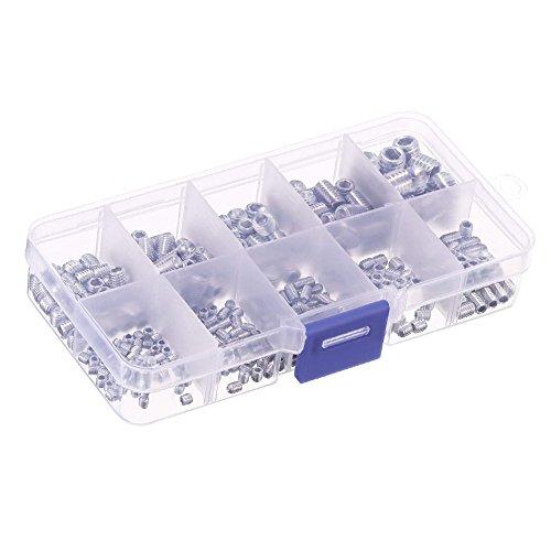 SODIAL 330 pieces 304 en acier inoxydable M3 / 4/5/6/8 Hex Jeu de douilles de tete Kit d'assortiment de vis avec boite en plastique