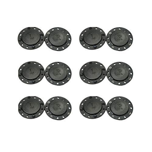 Healifty Lot de 6 paires de boutons magnétiques à coudre à 8 trous pour couture, sac artisanal, vestes, scrapbooking, noir, Aimant, Noir , 2.2*0.2cm