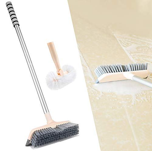 DELUX Floor Scrub Brush 2 Scrub Brush Heads with 55'' Long Handle, 3 in 1 Stiff Bristle Brush Scrubber, Cleaning Brush for Deck, Bathroom, Tub, Tile, Kitchen, Swimming Pool, Patio, Garages, Grey