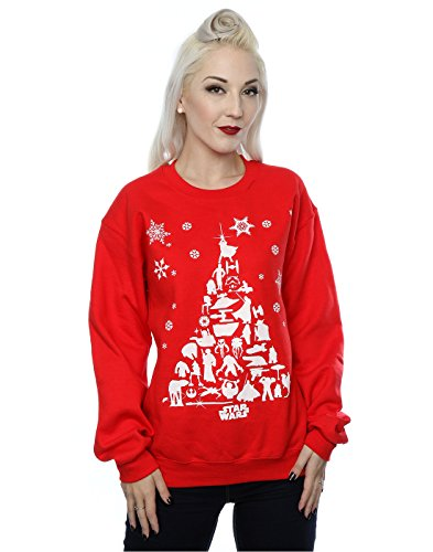 Star Wars Damen Christmas Tree Sweatshirt Small Rot