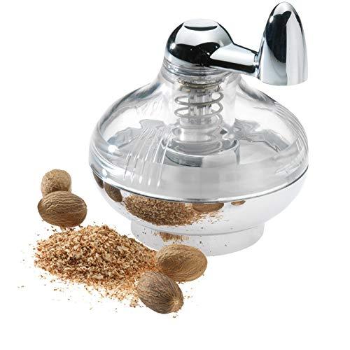 Westmark Muskatmühle mit Vorratsfläche für bis zu 9 Muskatnüsse, Kunststoff/Rostfreier Edelstahl, Silber/Transparent, 69572260