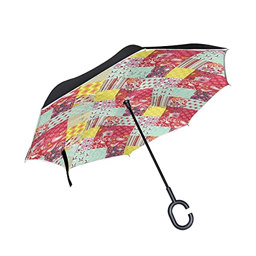 Paraguas plegables Arte De Flor Flor Paraguas Invertido Antiviento Protección contra Rayos UV Ligero Compacto Invertida Paraguas para Coche Viajes Playa Mujeres Niños Niñas