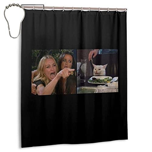 Frau schreit Cat Meme Duschvorhänge Wasserdicht Badezimmer Duschvorhang Set mit Haken Heavy Duty Stoff Badvorhang