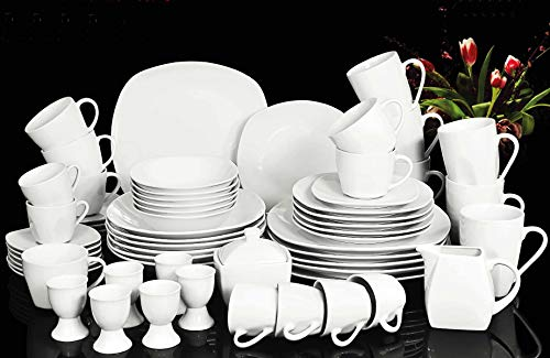 Waterside Fine China Set da tavola, Porcellana, Bianco, Taglia Unica