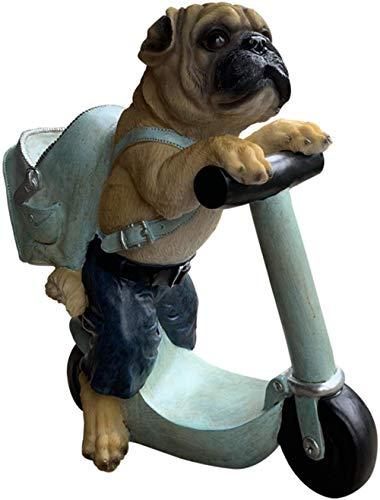 Pet Pug Scooter Adorno Planta suculenta Maceta Florero Decoración para el hogar o el jardín para Maceta Jardinera nórdica Decorativa para Hierbas Suculentas