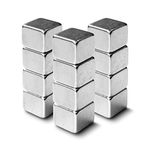Neodym Magnete extra stark für alle magnetischen Flächen   auch für Glasmagnettafeln   verschiedene Formen   12 Stück im Set  Würfel (10x10x8 mm)