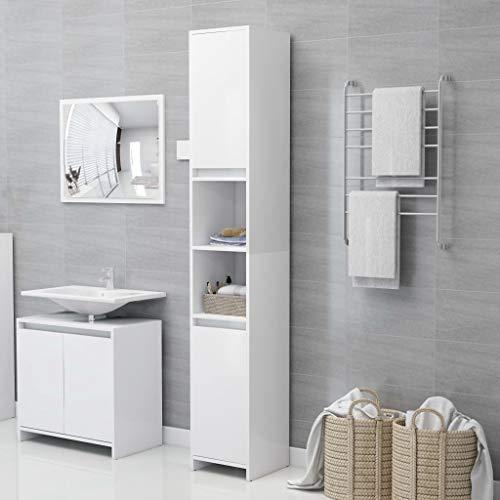 Ausla Mueble alto para el baño, armario de columna de baño, moderno, con 6 compartimentos y 2 puertas, blanco, 30 x 30 x 183,5 cm