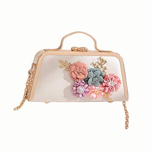 Ai-yixi Diseño clásico 2021 bolso cuadrado pequeño nuevo ambiente lindo cadena de flores hombro slash paquete perfecto salvaje (color: blanco, tamaño: 20 x 6,5 x 12 cm)