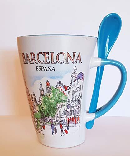MR Taza DE Cafe Grande con Motivo DE LA Ciudad DE Barcelona...
