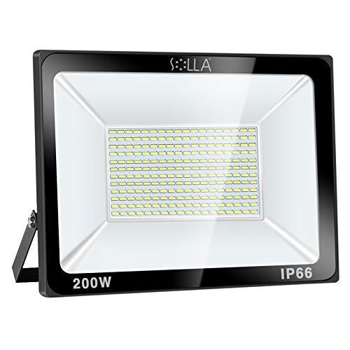 SOLLA 200W LED Flutlicht Outdoor-Sicherheitsleuchte, 1060W Äquiv, 6000K Tageslichtweiß, 16000LM, Wasserdicht IP66, Außenwandleuchte