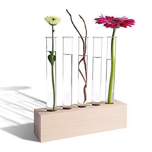 Tuuters Reagenzglas Vase aus Holz | Reagenzglashalter oder Tischdeko ✿ (Buche 5-Loch)