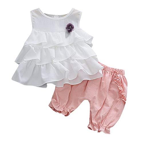 Allence Bekleidung 2 Stück Kleinkind Baby T-Shirt+Shorts Kurze Hosen + Kind Mädchen Outfits Kleider Blumen Weste Sommerkleidung Chiffon Strampler Spielanzug