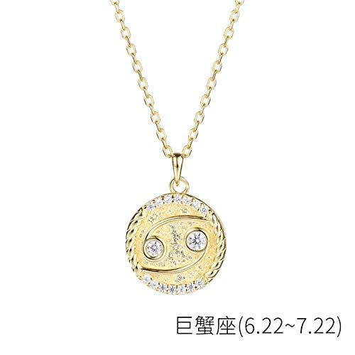 Bgpom Halskette Besteck S925 Sterling Silber Runde Anhänger Weibliche Zwölf Sternbild Halskette Weibliche Schlüsselbeinkette, Krebs