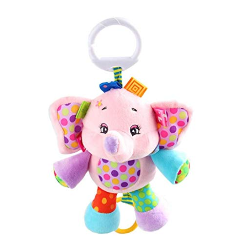 NaisiCore Bebé Musical Cuna Cochecito Juguetes Campanilla calmante Juguete Lindo Animal del traqueteo de la muñeca rellena Cama Squeaker Juguetes 1Pc Elefante Rosado