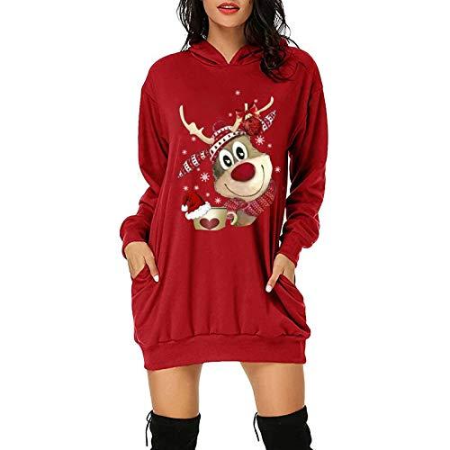 Strandkleid Damen Mutter Tochter Kleidung Brautkleider Boho Kleidung Damen Blumenkleid Damen Indische Kleidung Damen Kleid Rosa Bettwäsche Weihnachten(C-Rot,M)