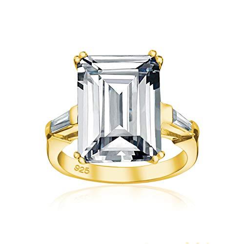 Art Deco estilo novia boda grande 10CT cúbico Zirconia 14K chapado en oro .925 plata esterlina solitario esmeralda corte con baguette side Stones AAA CZ Statement Anillo de compromiso para las mujeres