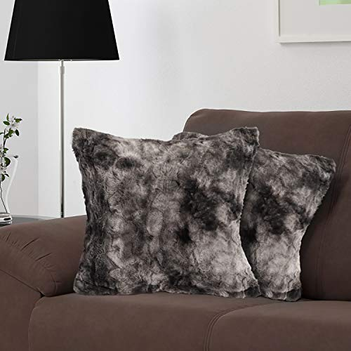 softan Set of 2 Faux Fur Throw Pillow Cover, Square Tie-Dyeing Pattern Pillowcase for Sofa Bedroom, Super Soft Fluffy Cushion Case with Reinforced Zipper Closure, 45cm×45cm, Grey