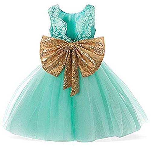 Mint Green Lace Flower Girls Dresses 12 Birthday Dress Beach Clothes Big Girls Kids Princess Special Occasion Prom Dresses Size 4T Tulle (Green, 120)