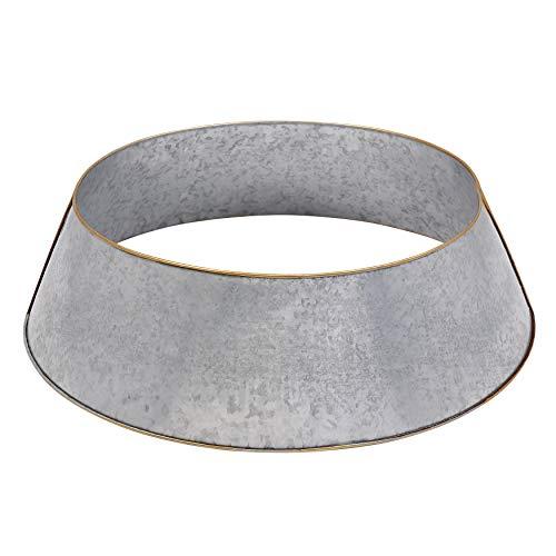 SARO LIFESTYLE EverestCollection Gold Rim Galvanized Christmas Tree Ring, Grey