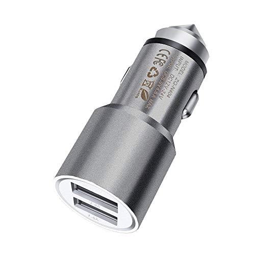ONX3 Grau schnelles Auto-Ladegerät Dual-USB-Metall-Kfz-Netzteil mit Fluchthammer kompatibel mit ZTE Blade V7 Plus