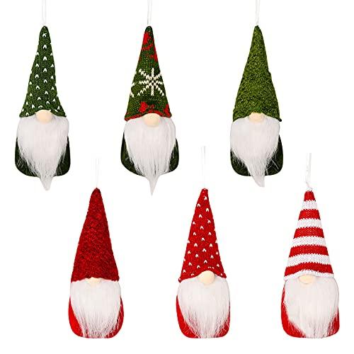 Ornamenti Pendenti degli Gnomi dell'albero di Natale Decorazioni di gnomi di Natale Set di ornamenti di gnomi fatti a mano Set di ornamenti di peluche natalizi di gnomo Tomte Gnomi di Babbo Natale