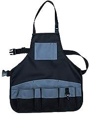 HDCRAFTER Werkschort met 9 gereedschapszakken, tuingereedschap schort, duurzaam gewaxt canvas, slijtvast en duurzaam schort cross-back bandjes & verstelbaar (kleur: blauw)
