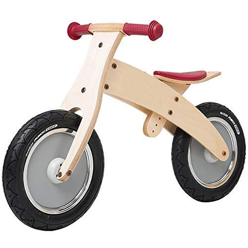 YUMEIGE Balance Bikes Kids' Balance Bikes Houten wiel rubber band, Balance Bike Snelle installatie, Houten Balance Bike Seat kussen verstelbare hoogte, 12.9-17.7in Beige