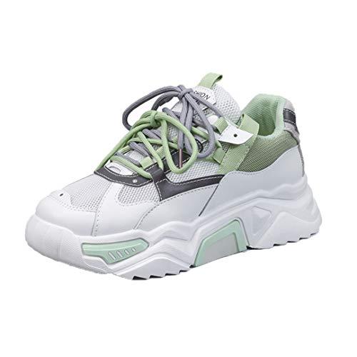 DogensHonz Zapatillas de Deporte de la Plataforma Transpirable para Mujer Zapatos de Zapatillas de Zapatillas de Malla Casual para Mujeres Green 36