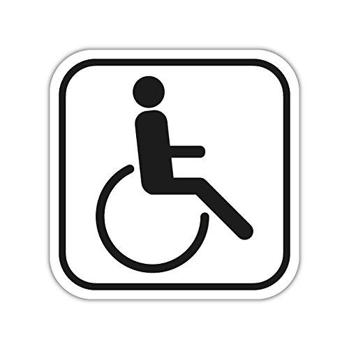 Rollstuhlfahrer Aufkleber abgerundet schwarz/weiß (1)