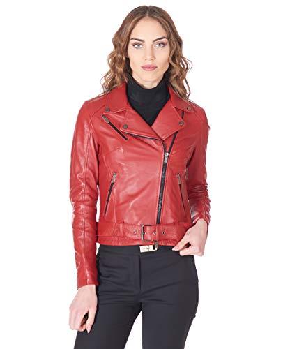 D'Arienzo Damen Italienisches Lederjacke im Bikerjacke Look Rote Echtleder Lammnappa Made in Italy CHIODO