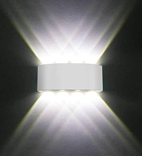 Wandleuchten Moderne IP65 Wasserdicht 8W LED Wandleuchte Innen Aluminium Wandbeleuchtung Oben Unten Dekorative Wandlampe für Wohnzimmer Schlafzimmer Halle Treppe Pathway (Kühles weißes Licht)