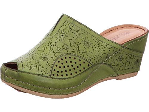 Gemini 031509-02-777 Damen Schuhe Pantoletten Clogs Leder, Größe:39 EU, Farbe:Grün