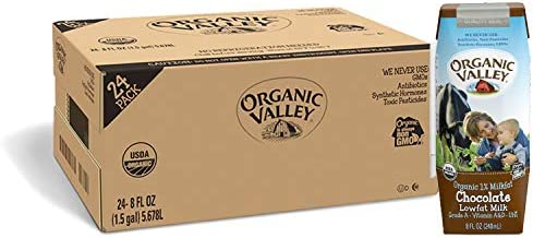 Organic Valley Chocolate Milk Boxes Shelf Stable 1 Milk Healthy Snacks 8oz Pack of 24 product image