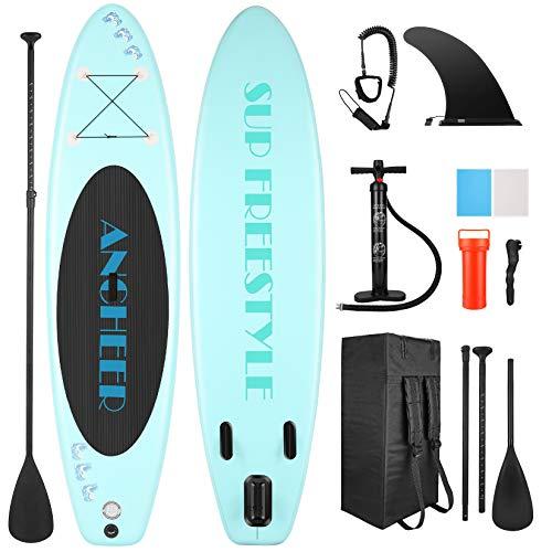 ANCHEER Stand Up Paddle Board Inflable, iSUP liviano con 3 Aletas, Bolsa de Transporte y Accesorios, Paleta Flotante Adj, Correa para el Tobillo y Bomba de Doble acción + Sup Kit con Remo de Aluminio