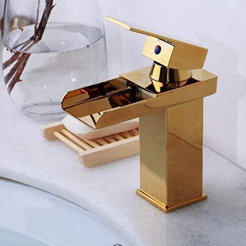TJJL Rubinetto dell'acqua ottone massiccio lucido dorato cascata bagno rubinetto bacino placcato oro foro foro lavabo rubinetto rubinetto