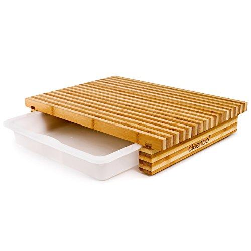 cleenbo Schneidebrett Classic Bamboo Bicolor, Profi Holz Küchenbrett aus geöltem Bambus, Schneidbrett mit Auffangwanne, Holzbrett mit Auffangschale aus lebensmittelechtem Kunststoff, 40 x 29 x 7 cm