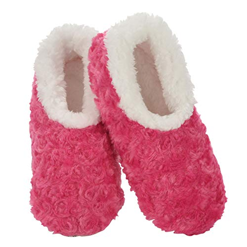 Snoozies Womens Slipper Socks - Cozy Slippers for Women - Fuzzy House Slippers for Indoor Use - Soft Sole Slippers - Roses in Bloom - Dark Pink - Large