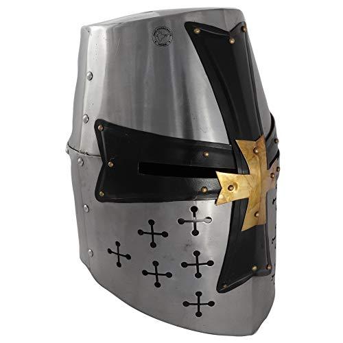 Hind Handicrafts Casco de armadura de caballero templario medieval renacentista para adultos, accesorios de guerrero, forro de piel ajustable, LARP, Halloween y dramas, color plateado y negro