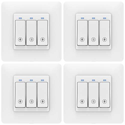 MoKo WLAN Smart Rolladen Zeitschaltuhr, WiFi Rolladenschalter Vorhang Schalter Wand Tastschalter, Jalousieschalter Kompatibel mit Alexa Echo Google Home SmartThings, APP Fernbedienung Timer - 4 Packs