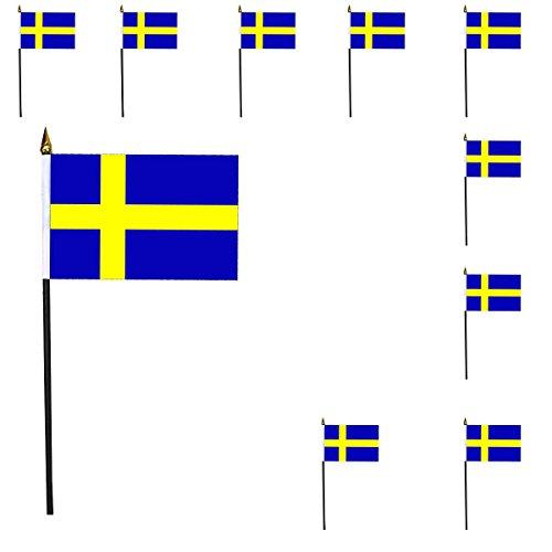 Sonia Originelli 10er Set Mini Flaggen WM Fußball 10x15 cm Party Anfeuern Fahnen Farbe Schweden