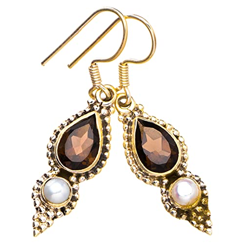 StarGems Pendientes de plata de ley 925 naturales de cuarzo ahumado y perla de río hechos a mano únicos de 1 1/2' Y2293