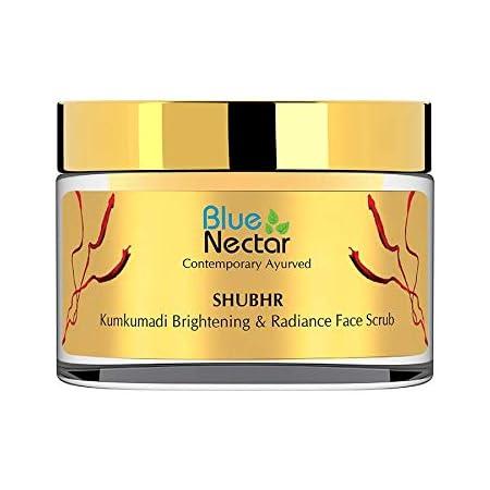 Blue Nectar Ayurvedic Kumkumadi Brightening and Anti Ageing De-tan Face Scrub - 50Gm