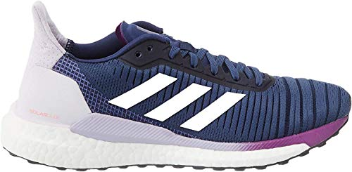 adidas Womens Solar Glide 19 Road Running Shoe, Tech Indigo/Footwear White/Purple Tint, 40 2/3 EU