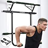 ENKEEO 6 in 1 Strength Training Pull-Up Bars Set, Doorway Fitness Chin Up Frame, Dip Station & Exercise Resistance Bands for Gym Home Upper Body Workout, No Installation Needed (Load up to 440 Lbs)