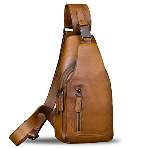 Genuine Leather Sling Bag for Men Chest Shoulder Crossbody Hiking Backpack Vintage Handmade Daypack...