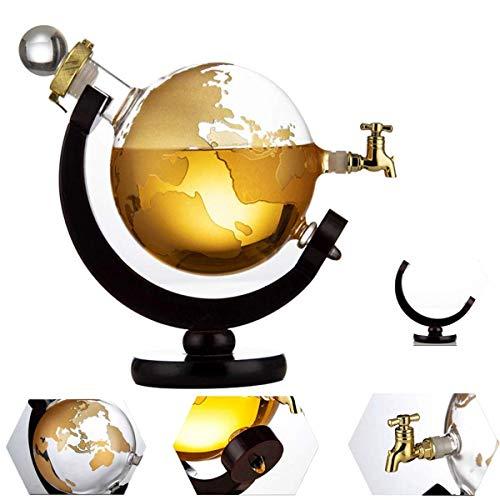 MFLASMF Globe Whisky Decanter 1000ml Globe Decanter y Base de Madera Rotación de 360 Grados Dispensador de Vino Cerveza Decoración del hogar Vertidores de Vino Bar Utensilios de Cocina p