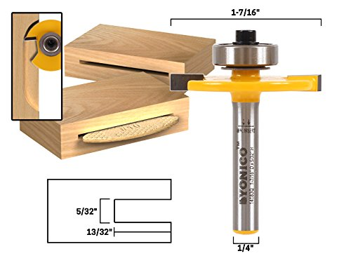 "Yonico 14183q #10 Biscuit Joint Slot Cutter Jointing/Slotting Router Bit with 1/4"" Shank"